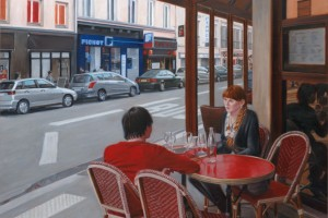 Cafe with Red Table