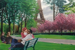 Lovers in the Trocadero Gardens, Paris